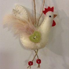 Handmade felt chicken hanging decoration / handmade gift / animal lover gift…