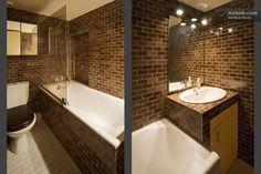 Brown subway tiles in bath-- from Airbnb's STUDIO SAINT-PAUL LE MARAIS 4e in Paris