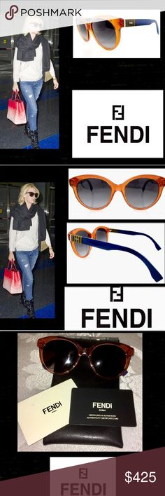 🦋Fendi😎Unisex😎Colorblock😎Sunglasses😎 Fendi🔴SOLD OUT🔴Sunglasses😎 Includes Authenticity Card(you feel in date of purchase,to customize your purchase) Italian Leather Case😎magnetic closure😎 Crystal Orange Round Frame😎Lens color dark grey gradient 😎they flatter those with a triangle😎 oval 😎diamond😎Square or oblong face😎arm logo😎100% uv protection😎can be changed to prescription lenses😎 13_7tc/90 Fendi Accessories Sunglasses