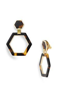 Tory Burch Hexagon Link Clip Earrings Tortoise