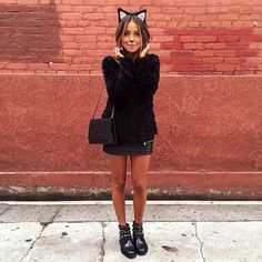 Cat ears + fuzzy sweater u003d Coziest cat costume ever! Thanks for the inspo Sincerely Jules! & 9 Different Cat Halloween Costumes That Arenu0027t Basic | Grandkids ...