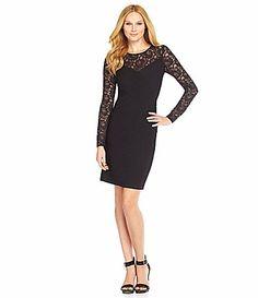 Calvin Klein LaceYoke Ribbed Dress #Dillards