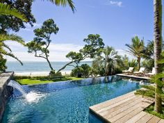 Pool - Beach House Swimming Pool Design In New Zealand By Ron Sang Piscina Rectangular, Rectangular Pool, Beachfront House, Design Jardin, Dream Pools, Swimming Pool Designs, Pool Houses, Beach Houses, Glass Houses