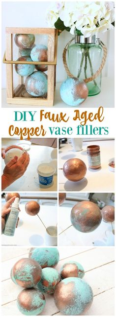 How to make these beautiful and simple DIY faux aged copper vase fillers using foam balls from FloraCraft and Modern Masters Metallic…