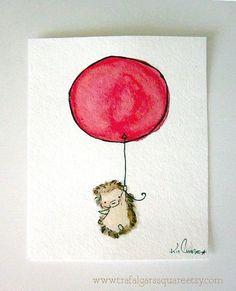Hedgehog with balloon