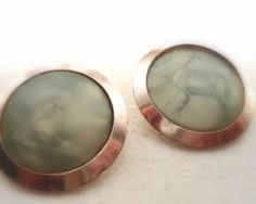 Clip Earrings Free Shipping Green Gold by Sweetlakevintage on Etsy, $14.00