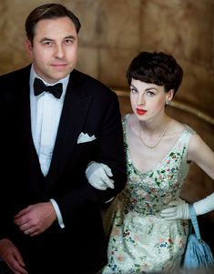 Our sleuthing couple - Tommy and Tuppence Beresford - go glam for a night out - in AGATHA CHRISTIE'S PARTNERS IN CRIME (2015). Costumes by Amy Roberts. The setting is in the 1950s, so there is lots of glamorous styles to pull from in creating theses lovely costumes.