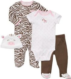 "Carter's Girls 4 Piece Zebra Layette Set with Bodysuit, Footed Pants, Footie, and Hat - Carters - Babies ""R"" Us Little Baby Girl, Carters Baby Girl, Baby Girl Newborn, Baby Kids, Baby Girl One Pieces, Kids Outfits, Baby Outfits, Toddler Outfits, Kids Fashion"