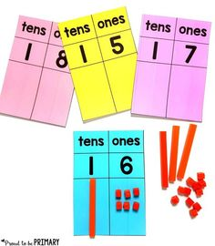 numbers represented with base ten blocks on place value mats - building number sense to 20