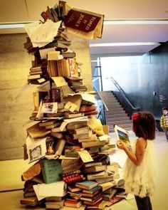 tree of books, book display