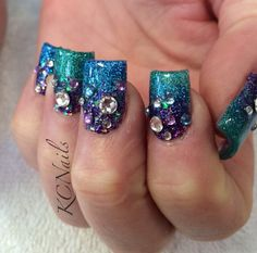 Teal, Blue, and Purple acrylic nails. 3 tone fade. Under the sea nails, mermaid nails. Swarovski crystal details.  KCNails