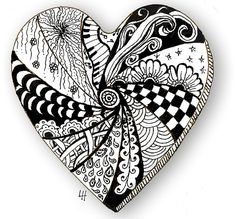 The World's Best Photos of heart and zentangle Tangle Doodle, Tangle Art, Zen Doodle, Doodle Art, Zentangle Drawings, Doodles Zentangles, Zentangle Patterns, Doodle Drawings, Colouring Pages