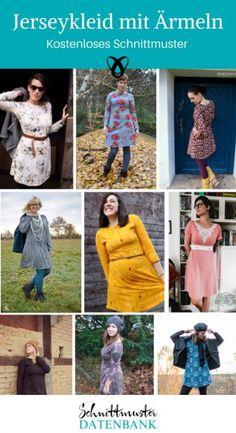 Schnittmuster kostenlos Kleid Jersey Damen Frauen mit Ärmeln Jerseykleid Vogelfrei kostenlos gratis Freebie Freebook nähen Nähideen Ideen