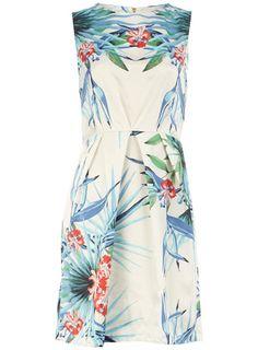 Multi palm print pleat dress