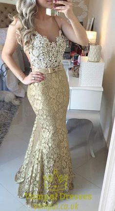 vampal.co.uk Offers High Quality Gold Lace Spaghetti Strap Backless Mermaid Lace…