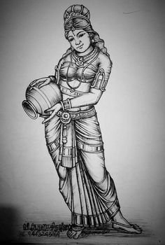 Flowers drawing pencil tutorials 44 ideas for 2019 Indian Women Painting, Indian Art Paintings, Outline Drawings, Art Drawings Sketches, Sketch Art, Easy Drawings, Tanjore Painting, Mysore Painting, Ganesha Painting