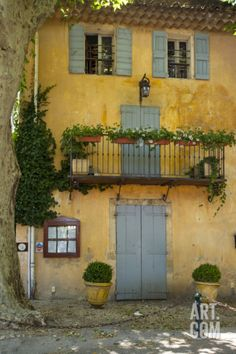 Photographic Print: Home in Cucuron, Provence, France by Brian Jannsen : Spanish House, Spanish Style, Old Doors, Windows And Doors, Building Structure, Building A House, Landscape Photos, Landscape Design, Villas