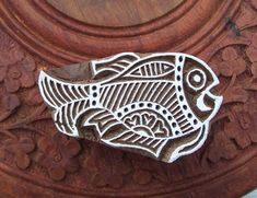 Your place to buy and sell all things handmade Indian Prints, Indian Art, Textiles, Textile Prints, Hand Carved, Carved Wood, Cute Fish, How To Make Bookmarks, Folk Embroidery
