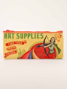 It's like having your art studio travel with you wherever you go. Art by Haley Johnson.  Awesomely convenient size. Keeps your tiny things tidy, and fits inside your other Blue Q bags! 95% post consumer recycled material.