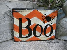 BOO Hand Painted Halloween Wood Sign Distressed by CreationsbyGena,--paint scrape wood and place in latterns with hw. Halloween Wood Signs, Holidays Halloween, Halloween Crafts, Halloween Decorations, Halloween Blocks, Halloween Canvas, Halloween Painting, Fall Decorations, Happy Halloween