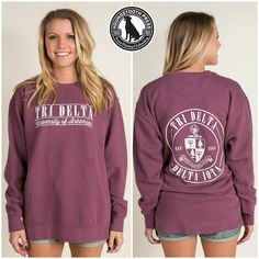 University of Arkansas Tri Delta Crest Sweatshirt. Comfort Colors, Plum. Love The Lab - Custom Designs - Delta Delta Delta.