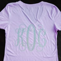 Glitter Monogram V-neck Shirt  Front and back by Createdinthasouth