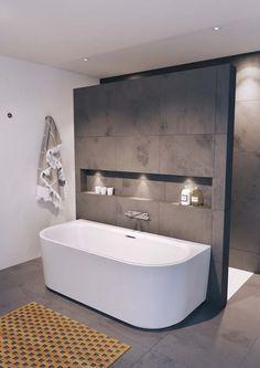 Un bain autoportant convient à chaque salle de bain Minimalist Bathroom Design, Modern Bathroom Design, Bathroom Interior Design, Interior Ideas, Minimal Bathroom, Bathroom Designs, Interior Modern, Simple Bathroom, Bathtub Designs
