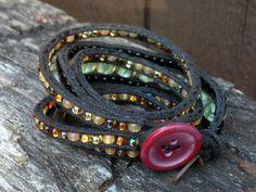 Black Cuff Beaded Bracelet by salmoninthebeak on Etsy, $135.00