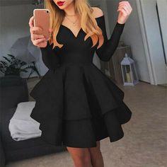 Women Lady Deep V-Neck Ruffles Party Gown Long Sleeve Evening Dress Off Shoulder Off Shoulder Dresses, Long Sleeve Evening Dresses, Red Party, Women Sleeve, Party Gowns, V Neck Dress, Lady, Sleeve Styles, Formal