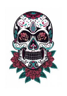 Tattoo sugar skulls, sugar skull art, mexican tattoo, skull illustration, m Mexican Skull Tattoos, Sugar Skull Tattoos, Sugar Skull Art, Mexican Skulls, Sugar Skulls, Skull Girl Tattoo, Girl Skull, Skull Tattoo Design, Dibujos Sugar Skull