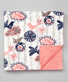 Love this 19'' x 19'' Coral & Navy Birds Minky Stroller Blanket on #zulily! #zulilyfinds