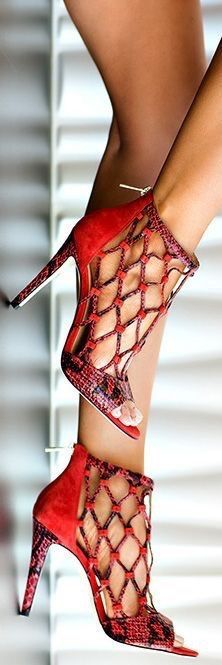 red and black snakeskin caged high heel pumps