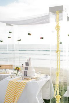 #beach, #cake-table Photography: Swoon by Katie - swoonbykatie.com Event Planning + Floral Design: I Do…Weddings & Events - sdweddingplanner.com/  Read More: http://www.stylemepretty.com/2013/04/18/la-jolla-wedding-from-i-do-weddings-events/