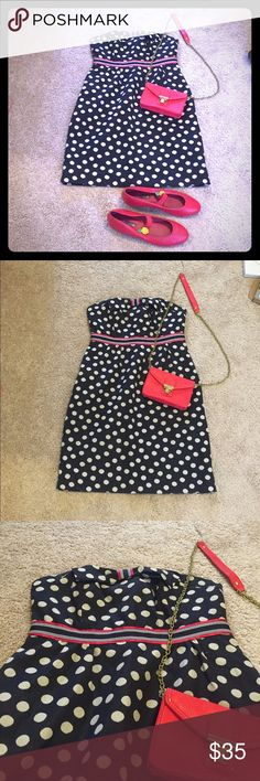 Anthropologie polka dot dress What can I say - this is ADORABLE! Red, white and blue polka dot mini dress by Maeve, sold at Anthropologie. Strapless with bow at top, ribbon around waist for definition. Anthropologie Dresses Mini