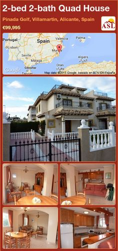 Quad House for Sale in Pinada Golf, Villamartin, Alicante, Spain with 2 bedrooms, 2 bathrooms - A Spanish Life Valencia, Quad, Sun Awnings, Portugal, Alicante Spain, Side Garden, Family Bathroom, Double Bedroom, Murcia