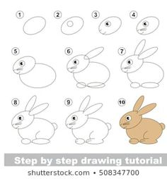 Vector kid educational game to develop drawing skill with easy game level preschool kids education. drawing tutorial for rabbit. Drawing Lessons For Kids, Easy Drawings For Kids, Drawing Skills, Art Lessons, Art For Kids, Drawing Images For Kids, Funny Drawings, Doodle Drawings, Animal Drawings