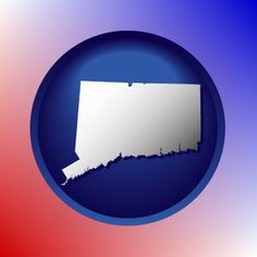 Red, white, and blue Connecticut map icon.