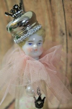 Salt Shaker Victorian doll-upcycled german doll head-assemblage doll-OOAK Doll-Handmade victorian style doll-altered doll art-queen