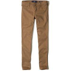 Hollister Low-Rise Jean Leggings ($25) ❤ liked on Polyvore featuring pants, leggings, dark tan, brown leggings, denim leggings, stretchy jean leggings, stretch leggings and stretchy pants
