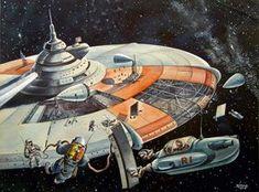 Weltraumstation (1949), unpublizierte Aquarell-Vorstudie