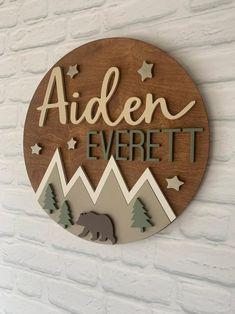 Baby Wall Art, Nursery Wall Art, Nursery Decor, Themed Nursery, Bear Nursery, Wood Name Sign, Wood Names, Woodland Theme, Woodland Nursery