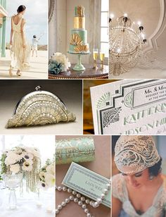 The Great Gatsby / 1920s wedding inspiration #deco #mint #gold