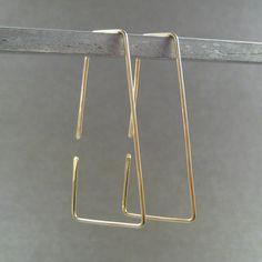 14K Gold Hoop Earrings - Flares - Simple Modern Minimal Earrings. $20.00, via Etsy.