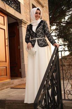 17eb8c416 فستان ابيض مع جاكيت من الدانتيل الاسود. Eve Arabia · فساتين سهرة للمحجبات