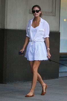 Olivia Palermo: White shirt over mini dress