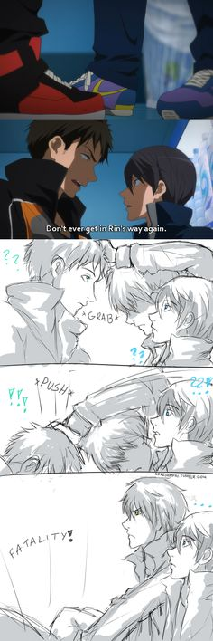 """I think you may want to take a step back."" aka protective Makoto strikes again ., iwatobi, sosuke yamazaki, nanase haru y makoto I Love Anime, Anime Guys, Awesome Anime, Manga Anime, Yandere, Makoharu, Haruka Nanase, Desenhos Love, Swimming Anime"