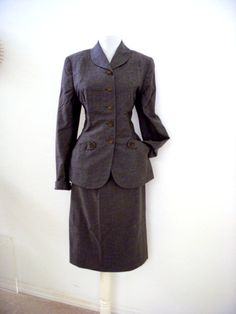 Exquisite 40s Gray Gabardine Suit  from Om Again Vintage    https://www.etsy.com/listing/193309904/exquisite-40s-gray-gabardine-suit?ref=shop_home_active_6