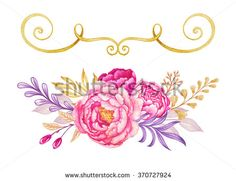 watercolor floral design elements, violet pink gold wedding flowers, greeting card composition, illustration isolated on white background