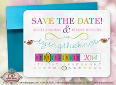 Tie The Knot Bright Colored 5x7 Love Bird Save The Date Wedding Cards