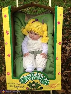 If you can knit, you can turn your baby into an adorable Cabbage Patch doll for Halloween. See more at Costume Works. Did we also mention easy and affordable? Baby Girl Halloween Costumes, Disney Halloween, Halloween Costume Contest, Halloween Kids, Halloween Party, Costume Ideas, Halloween Costumes For Babies, Halloween Stuff, Children Costumes